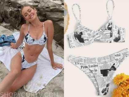 hannah godwin, the bachelor, newspaper print bikini
