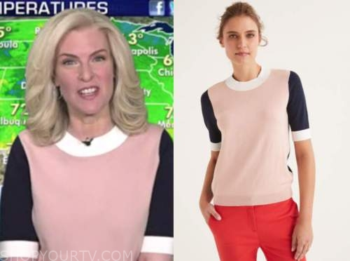 janice dean, fox and friends, colorblock knit top