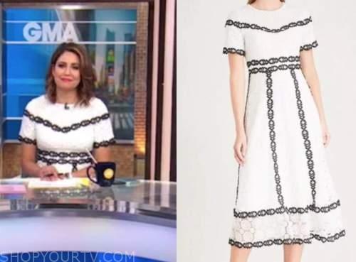 good morning america, cecilia vega, black and white lace dress