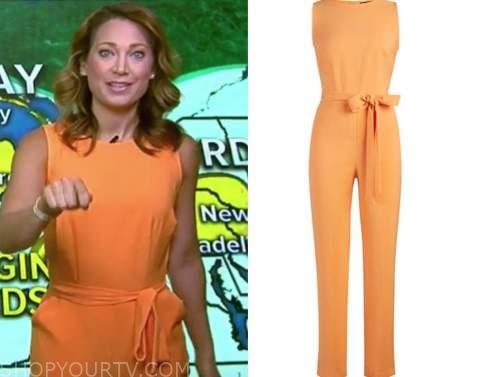ginger zee, orange jumpsuit, good morning america