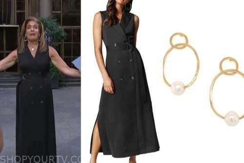 hoda kotb, the today show, black trench dress, pearl hoop earrings