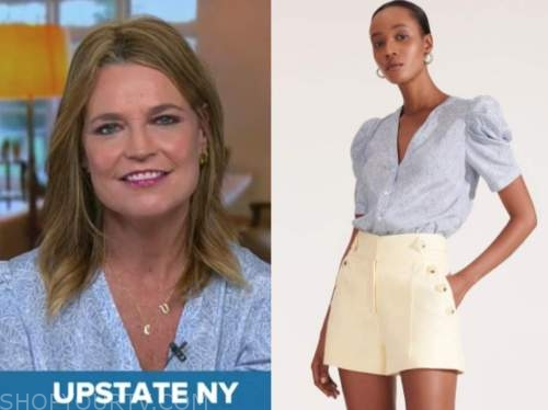savannah guthrie, the today show, blue printed puff sleeve top