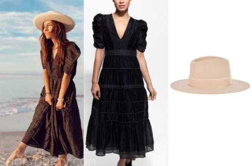 lilliana vazquez, E! news, midi dress, beige hat