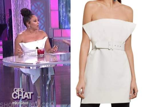 tamera mowry, the real, white strapless dress
