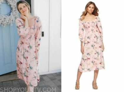 ali fedotowsky, the bachelorette, pink printed midi dress