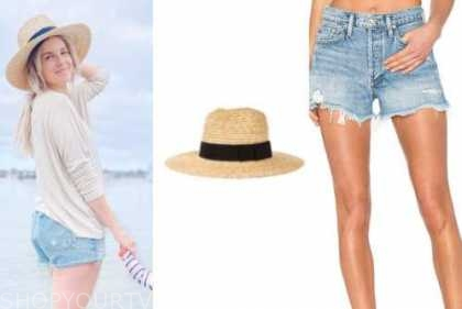 ali fedotowsky, the bachelorette, straw hat, denim shorts, beige top