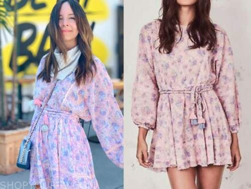 lilliana vazquez, E! news, pink and purple floral tassel dress