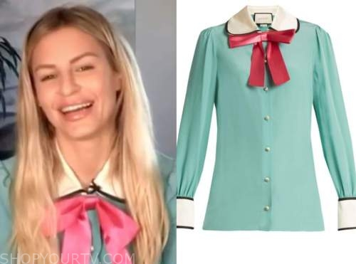 morgan stewart, E! news, nightly pop, mint green and pink tie neck top