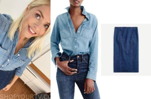this morning, holly willoughby, denim shirt, denim skirt