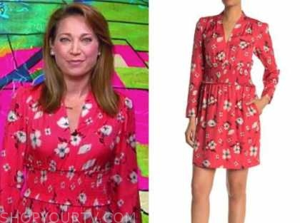 ginger zee, good morning america, red floral dress