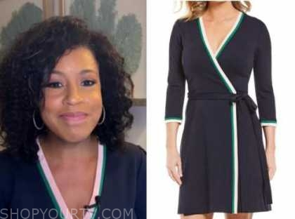 sheinelle jones, the today show, wrap contrast trim dress