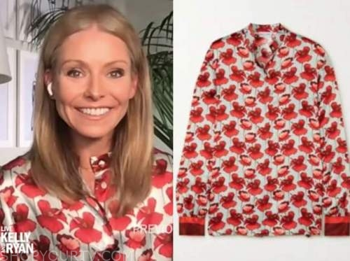 kelly ripa, live with kelly and ryan, red floral blouse