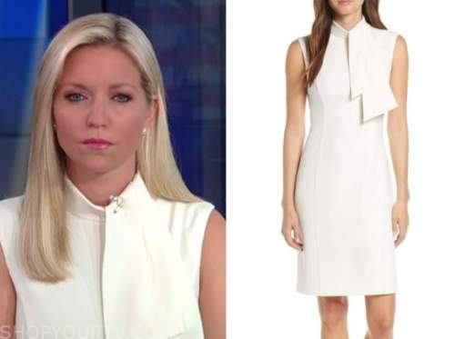 fox and friends, ivory tie neck dress, ainsley earhardt