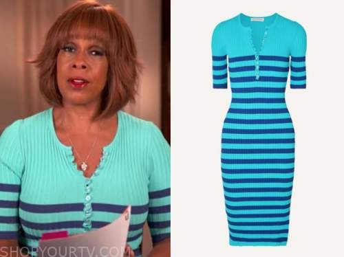 gayle king, cbs this morning, blue striped knit dress