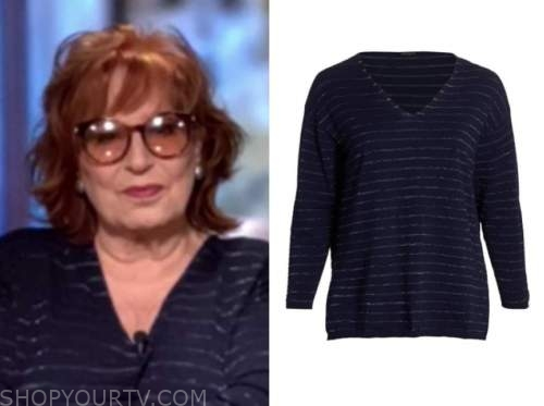 joy behar, navy blue metallic striped sweater, the view