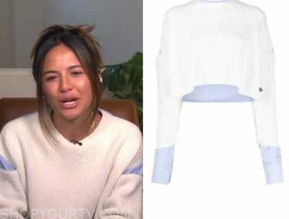 erin lim, e! news, daily pop, white and blue layered sweater