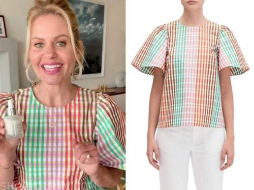 candace cameron bure, multicolor plaid top