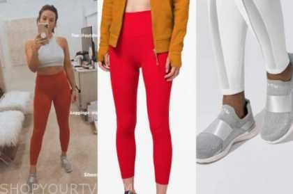 becca tilley, the bachelor, sports bra, red leggings, silver sneakers