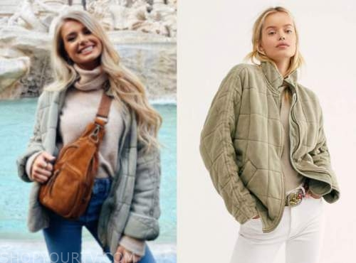demi burnett, the bachelor, green quilted jacket
