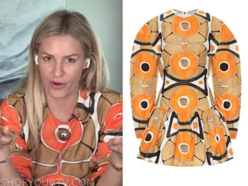 morgan stewart, orange and brown printed dress, E! news, daily pop