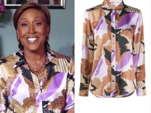robin roberts, good morning america, printed satin shirt