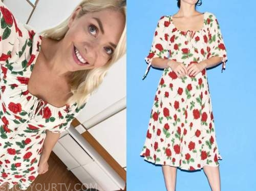 holly willoughby, this morning, rose print dress