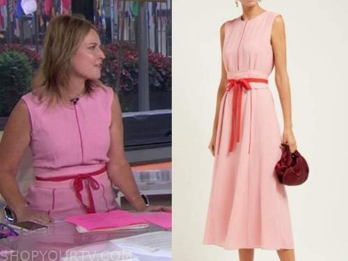 savannah guthrie, pink and red dress, the today show