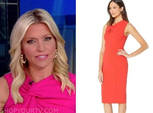 ainsley earhardt, fox and friends, pink knot sheath dress