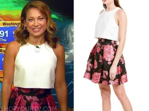 ginger zee, good morning america, white crop top, floral skirt
