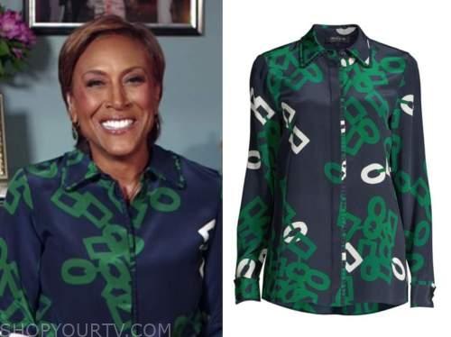 robin roberts, good morning america, blue and green link shirt