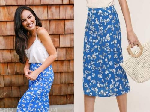 caila quinn, the bachelor, blue floral skirt