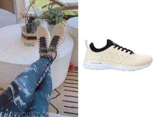 the bachelor, haley ferguson, ivory and navy sneakers