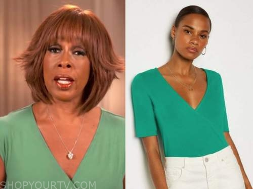 gayle king, cbs this morning, green wrap top