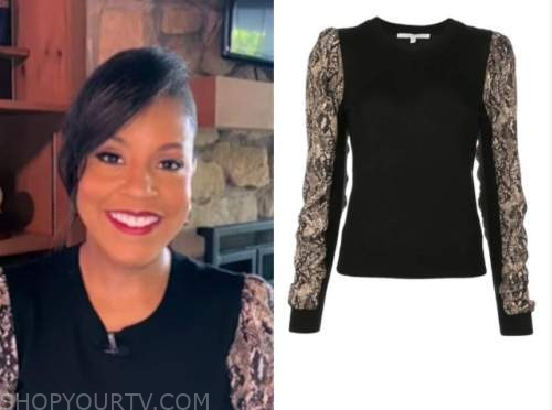 the today show, sheinelle jones, snakeskin sleeve sweater