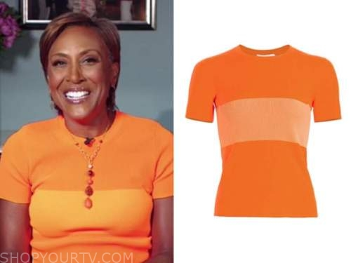 good morning america, robin roberts, orange colorblock top