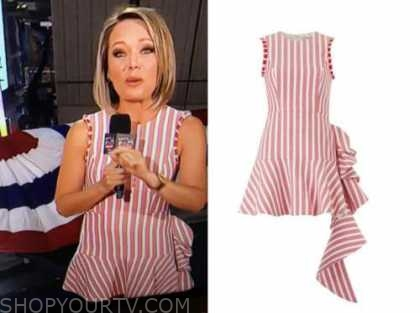 dylan dreyer, macy's fireworks, red and white striped dress
