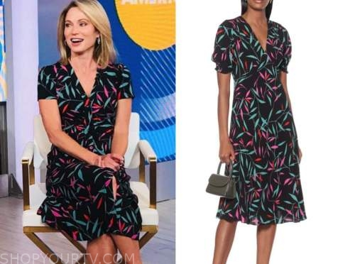 amy robach, good morning america, floral midi dress