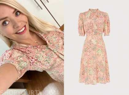 holly willoughby, this morning, pink floral dress