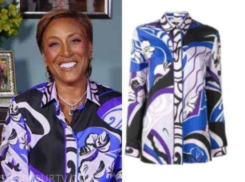 robin roberts, good morning america, purple and blue silk shirt