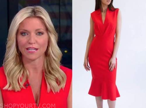 ainsley earhardt, fox and friends, red dress