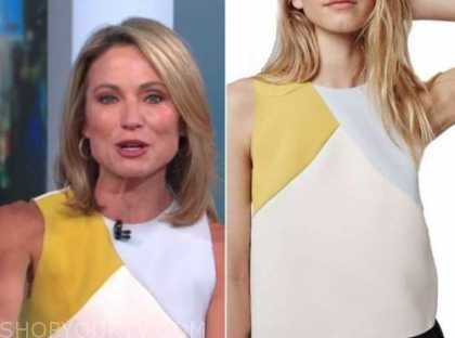 amy robach, good morning america, colorblock top