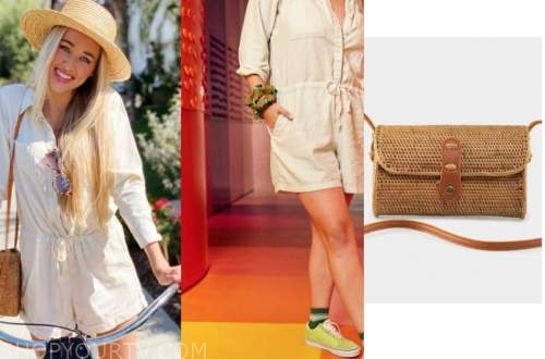 heather m., the bachelor, beige romper and straw bag