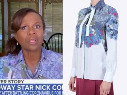 deborah roberts, blue floral blouse, good morning america