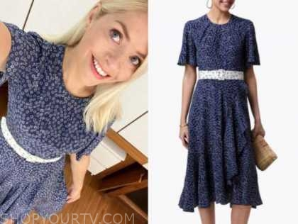 holly willoughby, this morning, blue floral belted dress