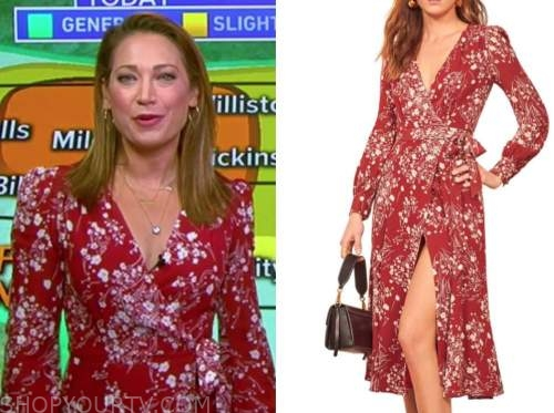 ginger zee, good morning america, red floral wrap dress