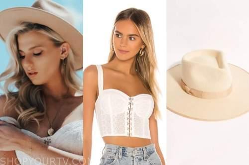 haley ferguson, the bachelor, white corset top, beige hat