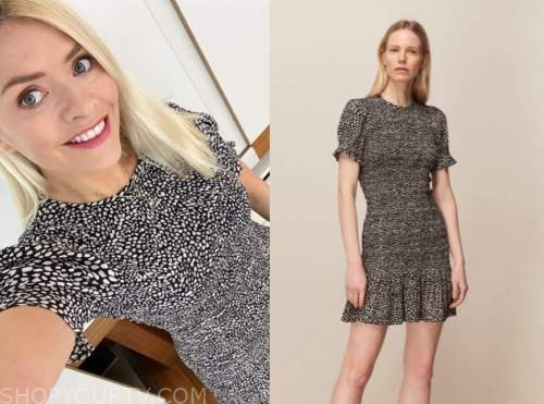 holly willoughby, this morning, black printed dress