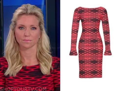 ainsley earhardt, fox and friends, red and black printed dress