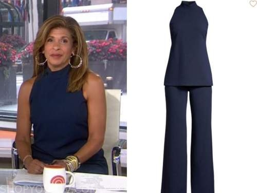 hoda kotb, the today show, navy blue mock neck jumpsuit