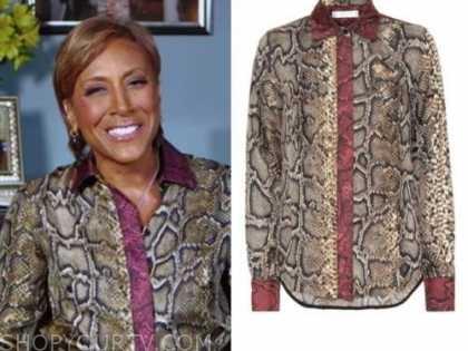 robin roberts, good morning america, snakeskin shirt